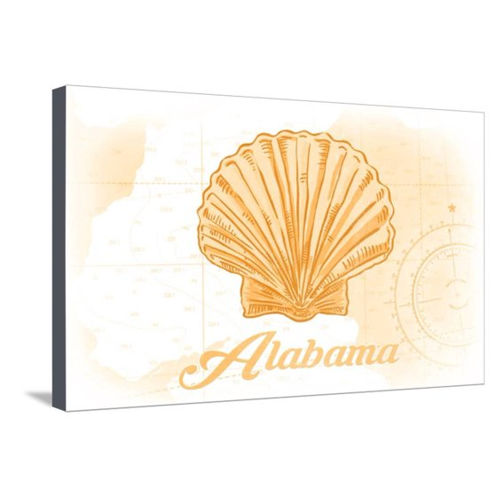 Alabama - Scallop Shell - Yellow - Coastal Icon Stretched Canvas ...