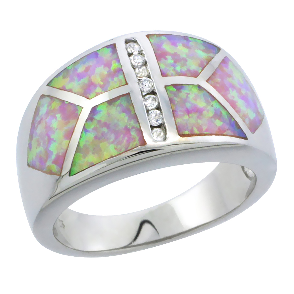 Sterling Silver Synthetic Pink Opal Dome Ring Cubic Zirconia Accent, 1 2 inch by WorldJewels
