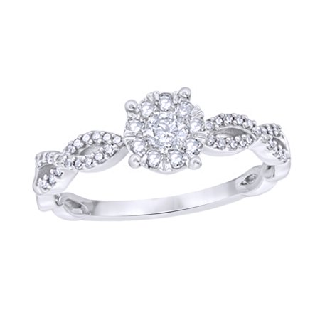 Round Cut White Natural Diamond Frame Twist Shank Engagement Ring in 10k White Gold (0.37 Cttw)