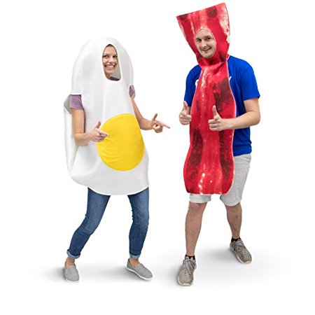 Boo! Inc. Bacon & Egg Breakfast Adult Couple's Halloween Party Role Play & Cosplay Costume - Breakfast At Tiffany's Halloween Costume