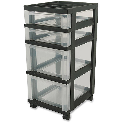 Iris Mini Clear Plastic Storage Cart with Wheels