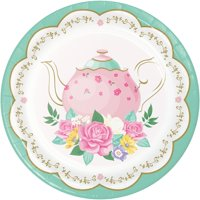 Club Pack of 96 Rose and White Floral Tea Party Dessert Round Plates 6.8""