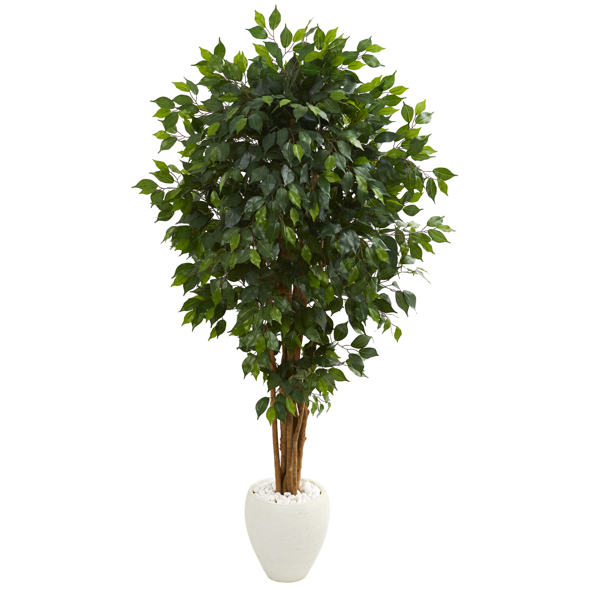 Nearly Natural 6' Ficus Artificial Tree in White Planter