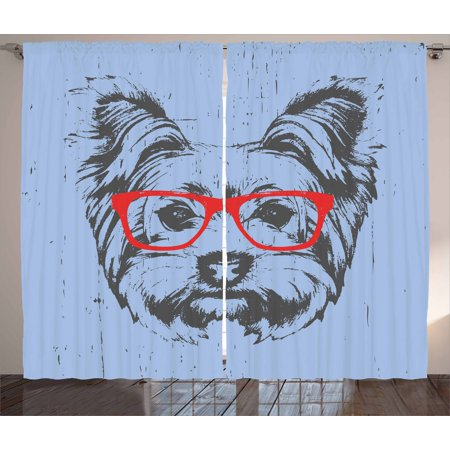 Yorkie Curtains 2 Panels Set, Yorkshire Terrier Portrait Red Nerd Glasses Tainted Backdrop Animal Fun, Window Drapes for Living Room Bedroom, 108W X 84L Inches, Pale Caramel Sand Brown, by Ambesonne
