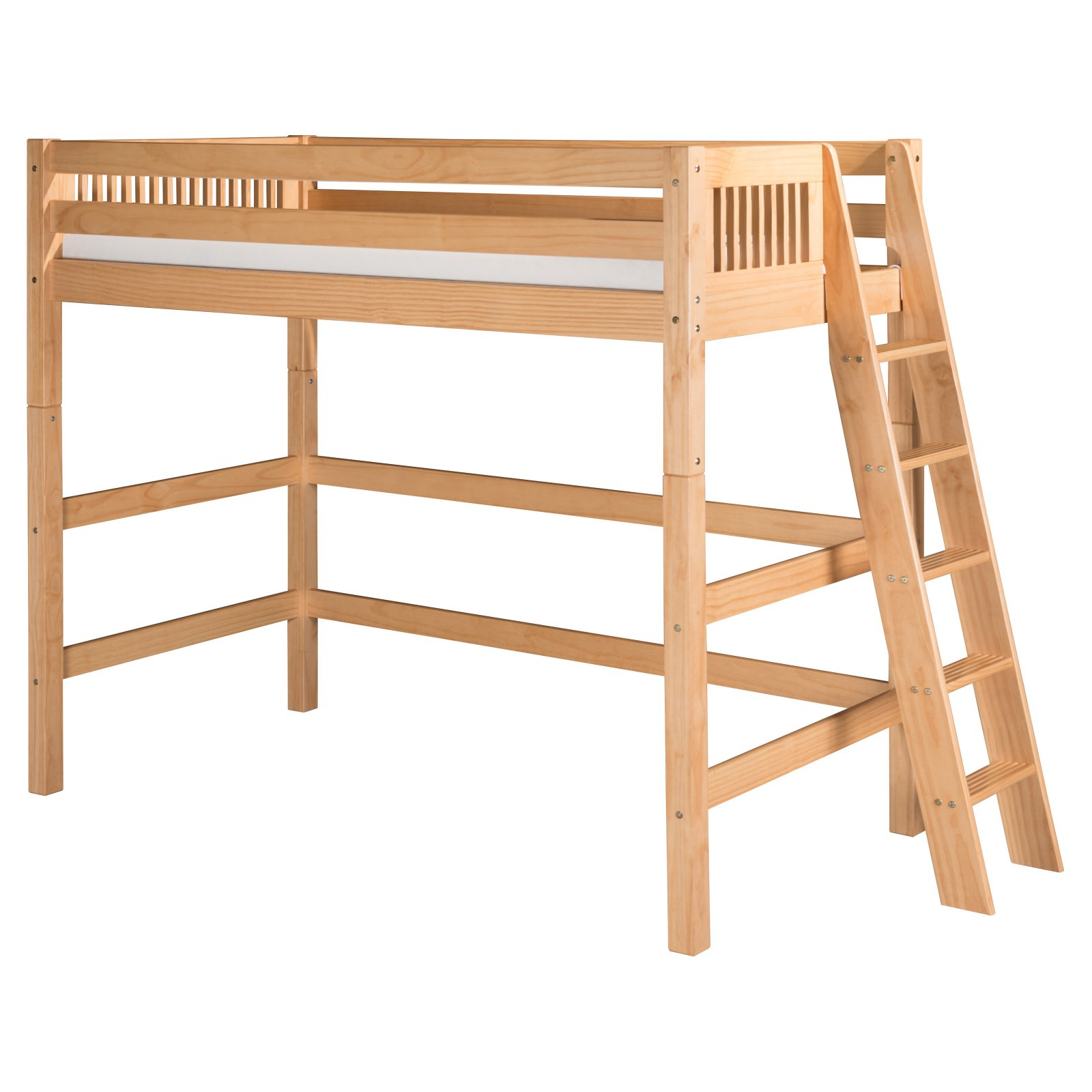Camaflexi Twin Size High Loft Bed - Mission Headboard - Lateral Ladder - Cappuccino Finish