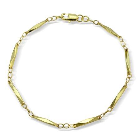 Gold Tone Elongated Diamond Shape Chain Link Bracelet, 7.5 inches