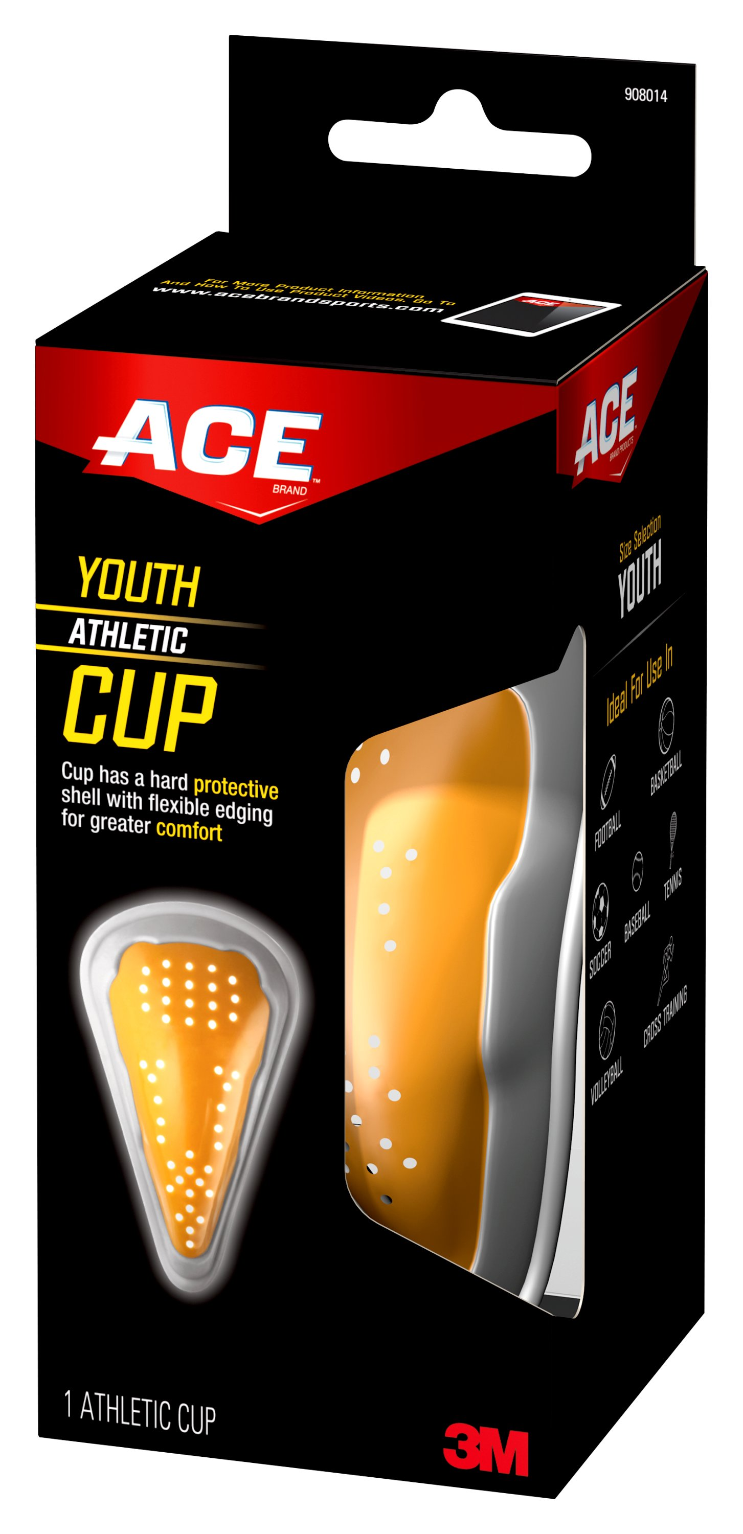 ACE Brand Athletic Cup, Youth, Yellow Gray, 1 pack by 3M COMPANY