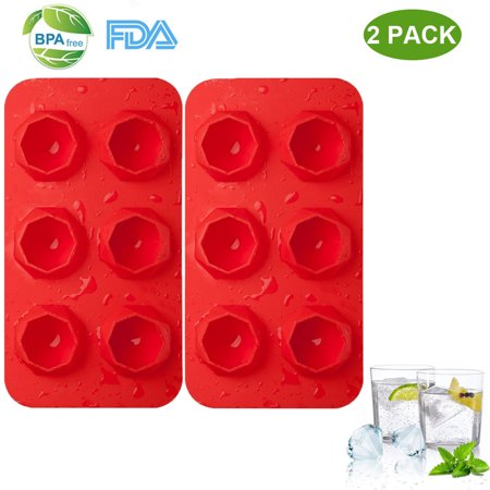 - 2 Pack Silicone Ice Cube Trays BPA Free Ice Cube Molds Easy Release Flexible FDA Approved Trays with for Chill Drinks Whiskey Cocktail (Red)