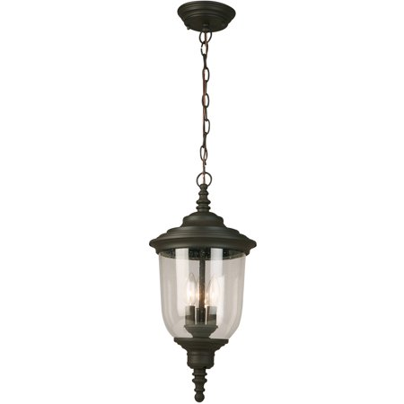 Outdoor Pendant 3 Light Fixture With Matte Bronze Finish Metal E12 10