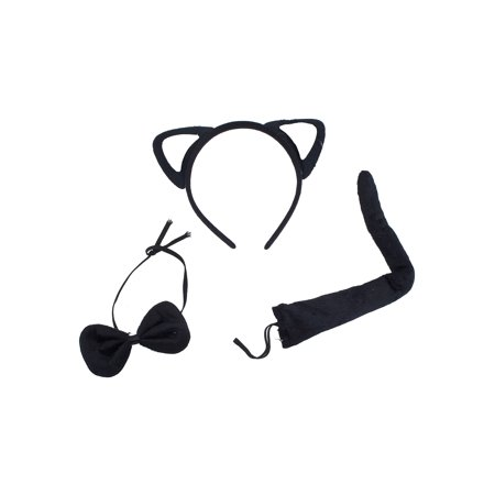 Lux Accessories Black Pink Cute Fun Kitty Cat Ears Bowtie Tail Costume Dressup - Pink And Black Cat Costume