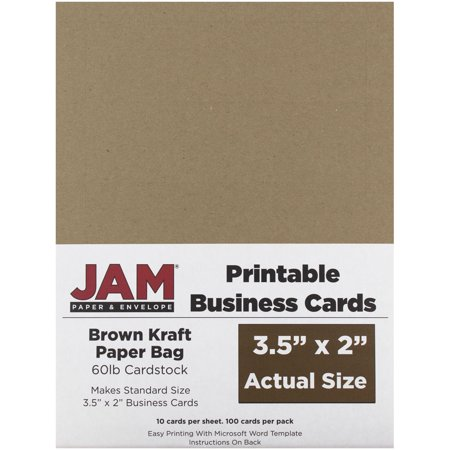 Jam paper printable business cards 3 12 x 2 brown kraft paper bag jam paper printable business cards 3 12 x 2 brown kraft paper reheart Image collections