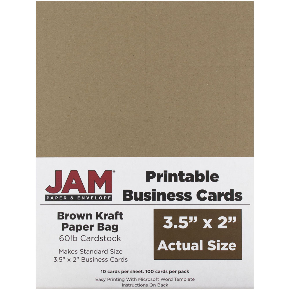 JAM Paper Printable Business Cards, 3 1/2 x 2, Brown Kraft Paper Bag Recycled, 100/pack