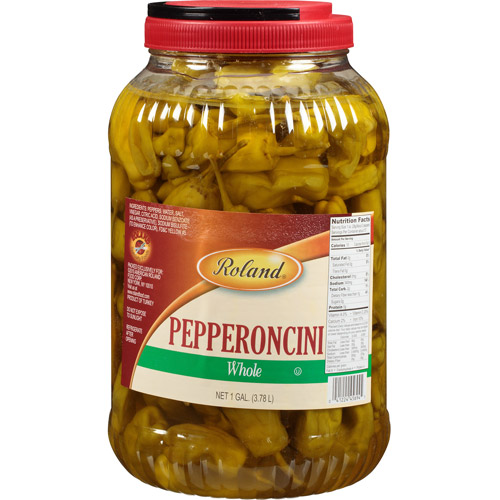 Roland Whole Pepperoncini, 128 oz, (Pack of 4)