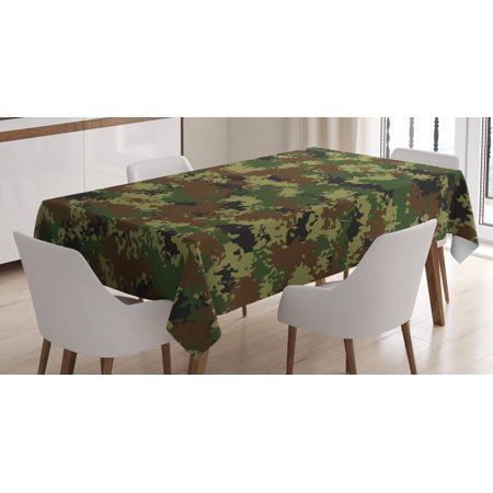Camo Tablecloth, Grunge Graphic Camouflage Summer Theme Armed Forces Uniform Inspired Dark, Rectangular Table Cover for Dining Room Kitchen, 52 X 70 Inches, Green Pale Green Brown, by Ambesonne