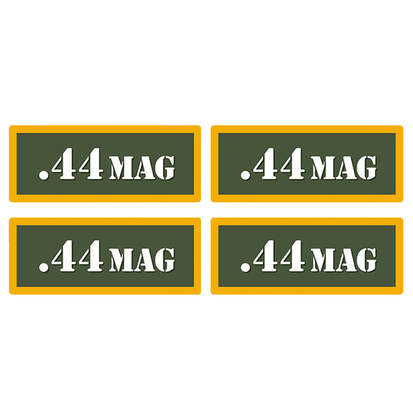 ".44 MAG Ammo Can 4 Pack 3"" Olive OD Sticker Gun Ammunition Box Case Decal"