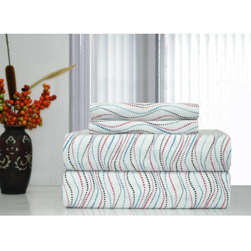 Pointehaven Metro Printed Heavyweight Flannel Sheet Set FULL Metro Print Flannel Sheet Set