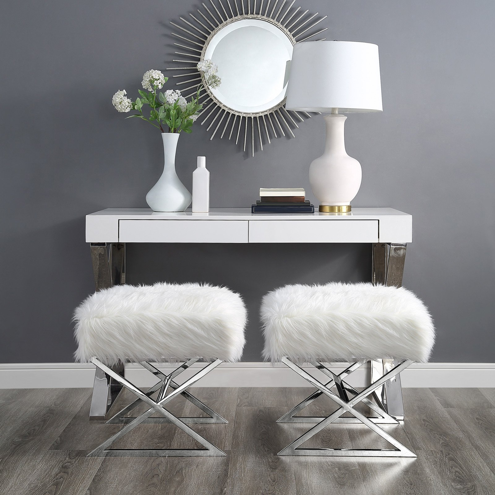 Inspired Home Nicole Faux Fur and Metal Ottoman