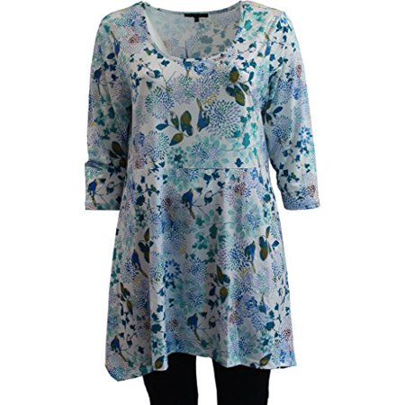 Rhinestone Printed Top - Women's Floral Printed Long Top with 3/4 Sleeve Rhinestone Tee Knit Top Multi 1X G160.11L