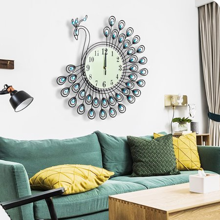 21 inch Large Metal 3D Golden Peacock Crystal Wall Clock Silent with Arabic Numerals, Decorative Clock for Living Room, Bedroom, Office