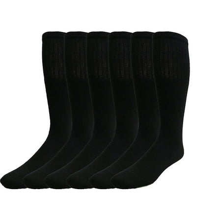 SOCKS'NBULK 6 Pair Men's Extra long Tube Socks, Black, Sock Size - Long Light Sock