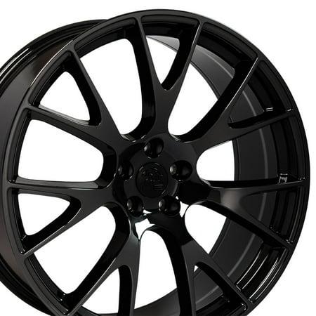 22 Inch Black And Chrome Rims - 22 Inch RAM Hellcat Style Fits Chrysler Aspen Dodge Dakota Durango Ram 1500   DG69 22x10 Rims Black Chrome SET