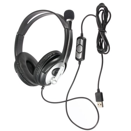 Noise cancelling Surround Sound USB Stereo Super Bass Headband Headphone Headset Mic Volume Control for PC Laptop with Microphone 12 Noise Cancellation Microphone