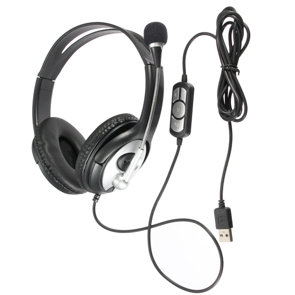 Noise cancelling Surround Sound USB Stereo Super Bass Headband Headphone Headset Mic Volume Control for PC Laptop with Microphone