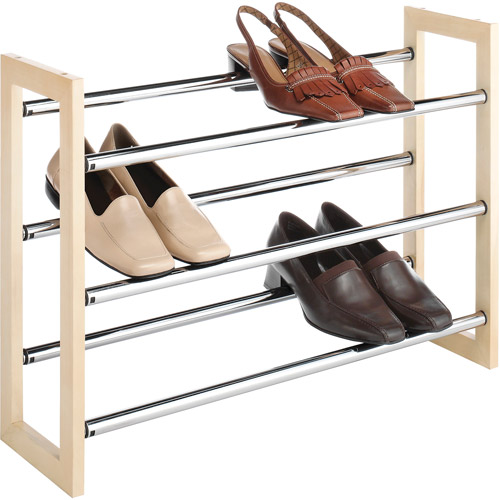 Whitmor Wood and Chrome Stackable/Expandable Shoe Rack