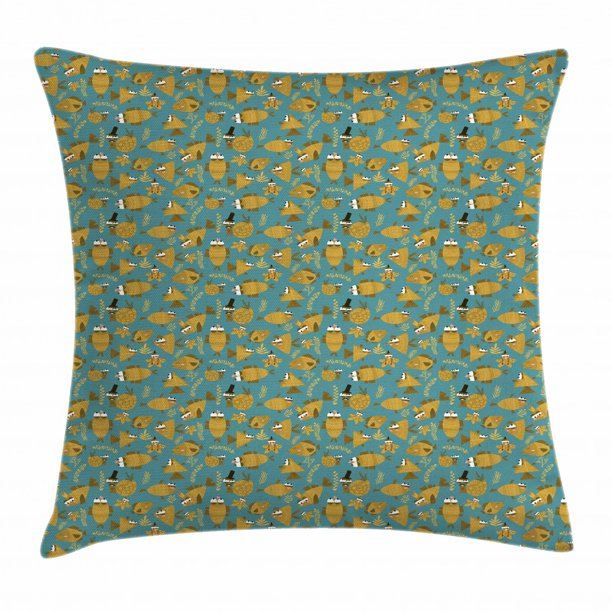 Under The Sea Throw Pillow Cushion Cover Snail Fish Cartoon With Funny Expressions And Accessories Decorative Square Accent Pillow Case 18 X 18 Inches Pale Brown And Petrol Blue By Ambesonne