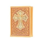 Nocona Western Wallet Mens Trifold Hair Cross Weave Saddle N5469208