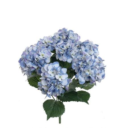 Larksilk Artificial 20 Inch Hydrangea Blue Silk Bush, 2-Pack
