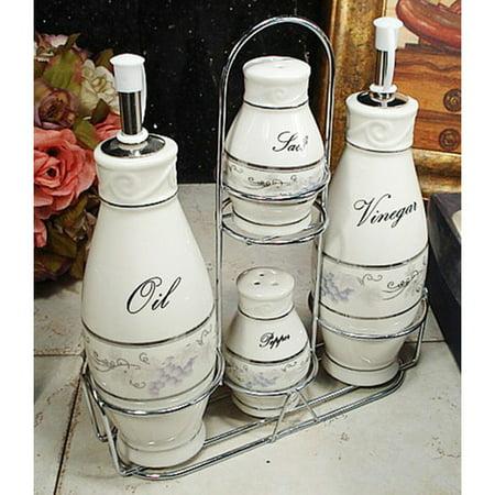 - Fleur De Lis Living Coweta Grape 4 Piece Oil, Vinegar, Salt and Pepper Set
