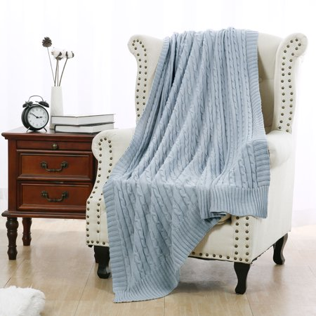 Cozy Stylish Cotton Cable Knitted Throw Blanket For Sofa Bedding Home