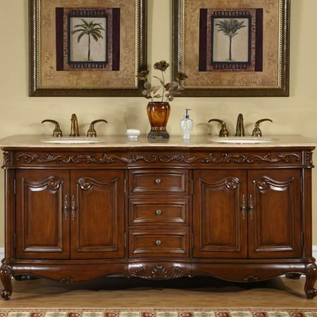 72 in. Ella Double Sink Bathroom Vanity in English Chestnut