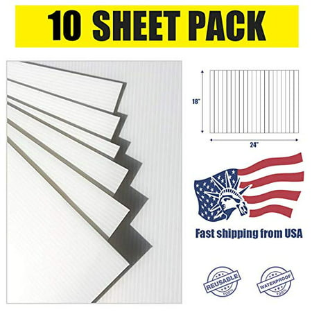 Pack of 10 Blank Yard Signs 18x24,High Grade Corrugated Plastic 4MM for Garage Sale Signs, Graduations, Open House, Estate Sale or Political Lawn Yard Sign Graduation Open House