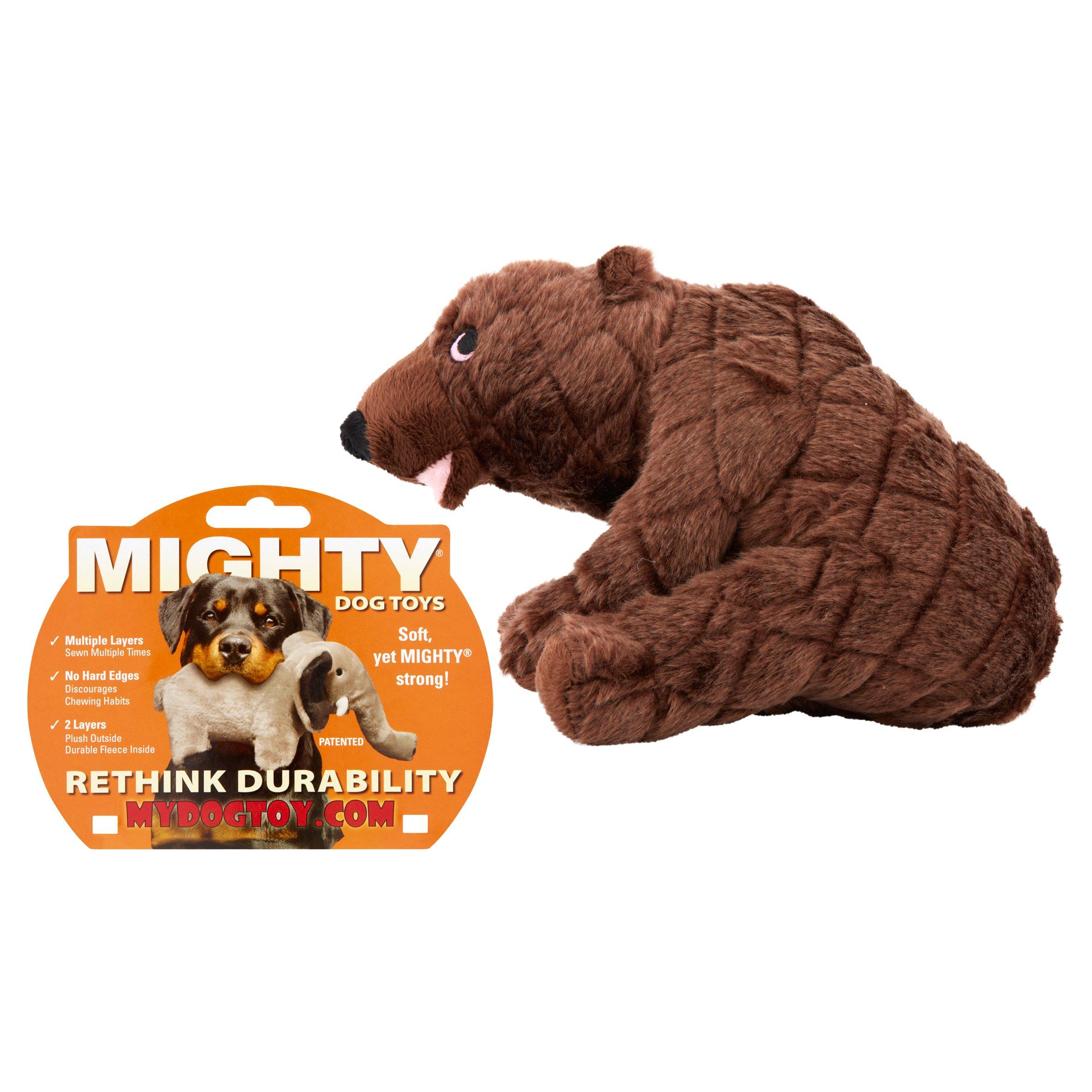 Mighty Plush Bear Dog Toy, Medium, Brown