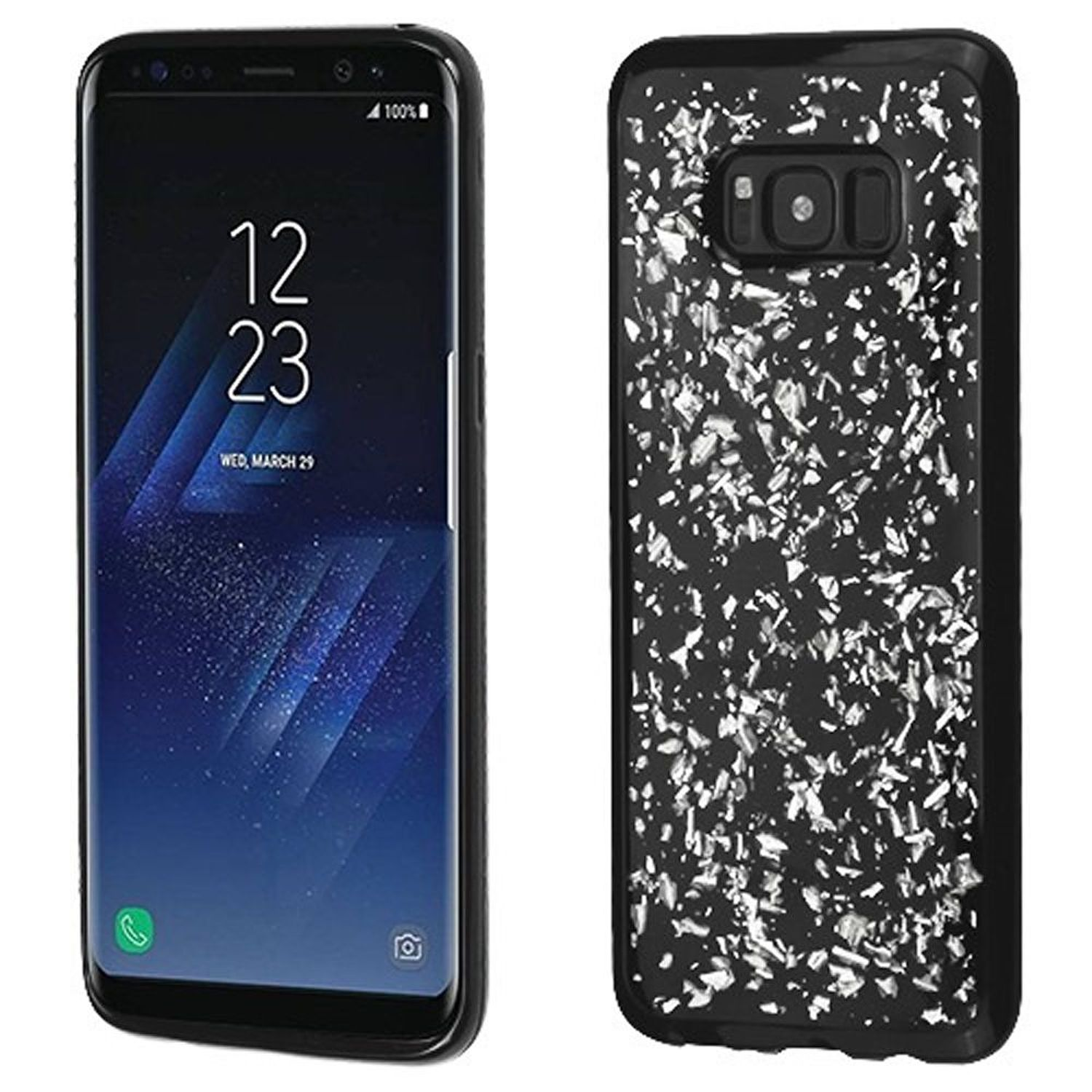Insten Flakes TPU Gel Case Phone Cover For Samsung Galaxy S8, Silver/Black