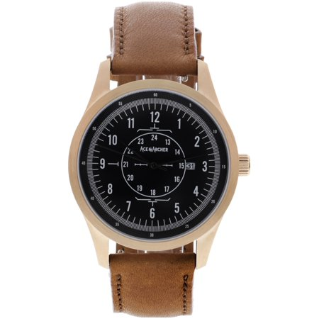 Aviator Watch, Stainless Steel Case and Leather Band for Men  Free Leather Wallet with Purchase Made in the USA - Rose Gold / Light (Watch The Aviator Free)