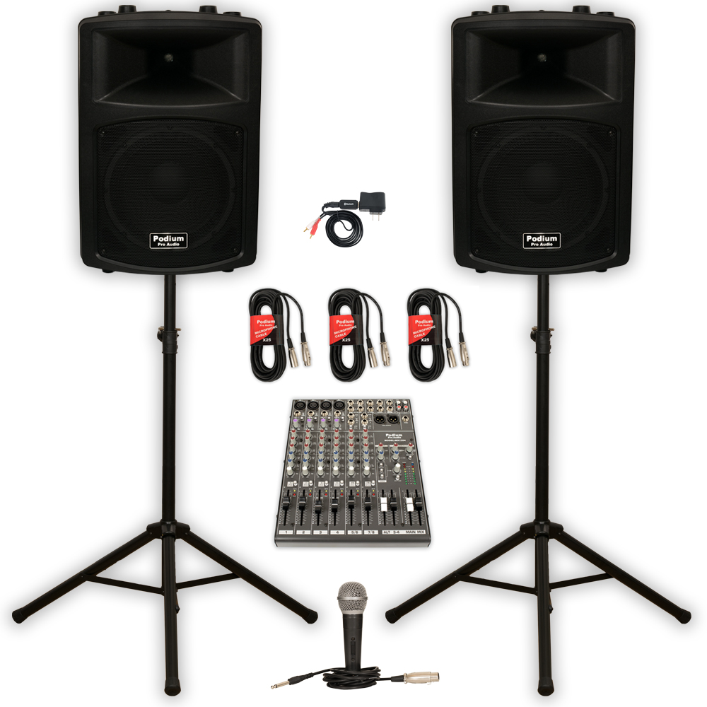 "Podium Pro PP1203A Powered 12"" PA DJ Speakers with Bluetooth 12 Channel Mixer Mic Stands and Cables"