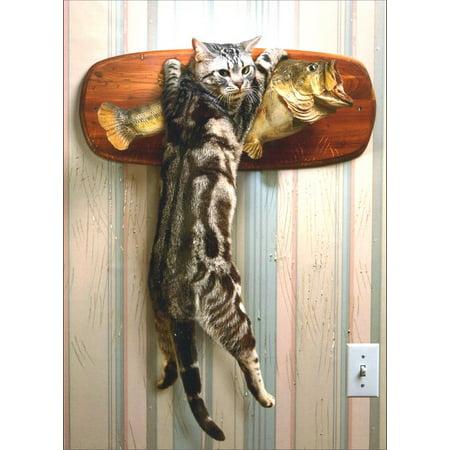 Avanti Press Cat Catching Mounted Fish Birthday Card
