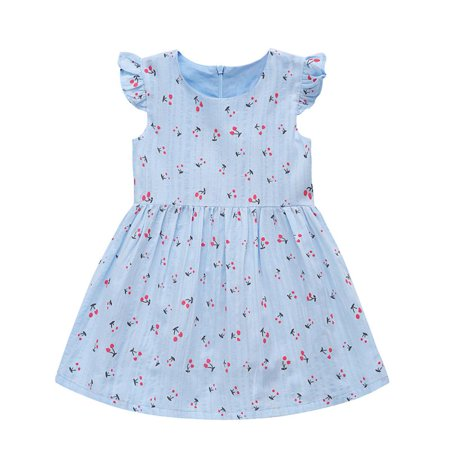 Toddler Baby Girl Fall Dress Cherry Printed Skirt Small Fly Sleeve Outfits Clothes Cherry Girls Dress