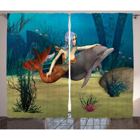 Mermaid Curtains 2 Panels Set, Fairy Marine Cute Mermaid Girl and Dolphin Fish Swimming Underwater in Blue Ocean Image, Window Drapes for Living Room Bedroom, 108W X 90L Inches, Multi, by Ambesonne