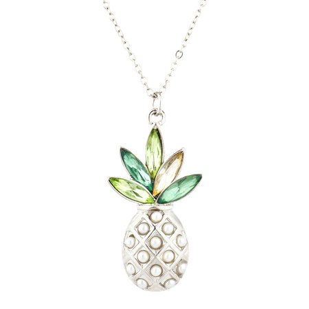 Lux Accessories Silver Tone Pearl Multi Green Stone PIneapple Pendant - Teardrop Shell Pearl Pendant