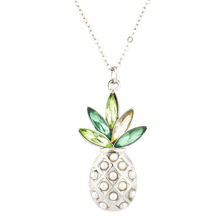 Lux Accessories Silver Tone Pearl Multi Green Stone PIneapple Pendant (Pearl June Birthstone Pendant)