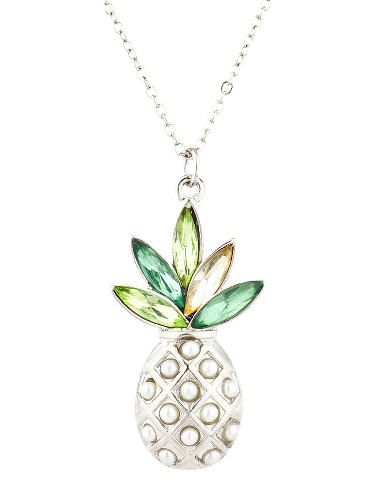 Lux Accessories Silver Tone Pearl Multi Green Stone PIneapple Pendant Necklace