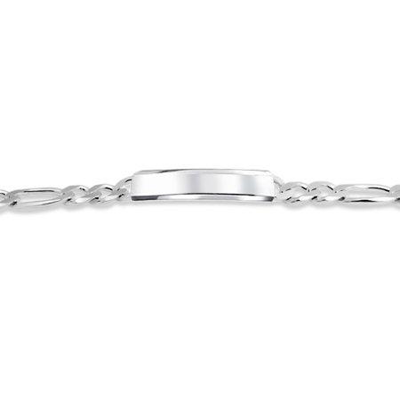 Mens Figaro Link ID Bracelet Engravable 200 Gauge Heavy Polished 925 Sterling Silver Made In Italy - image 2 de 5
