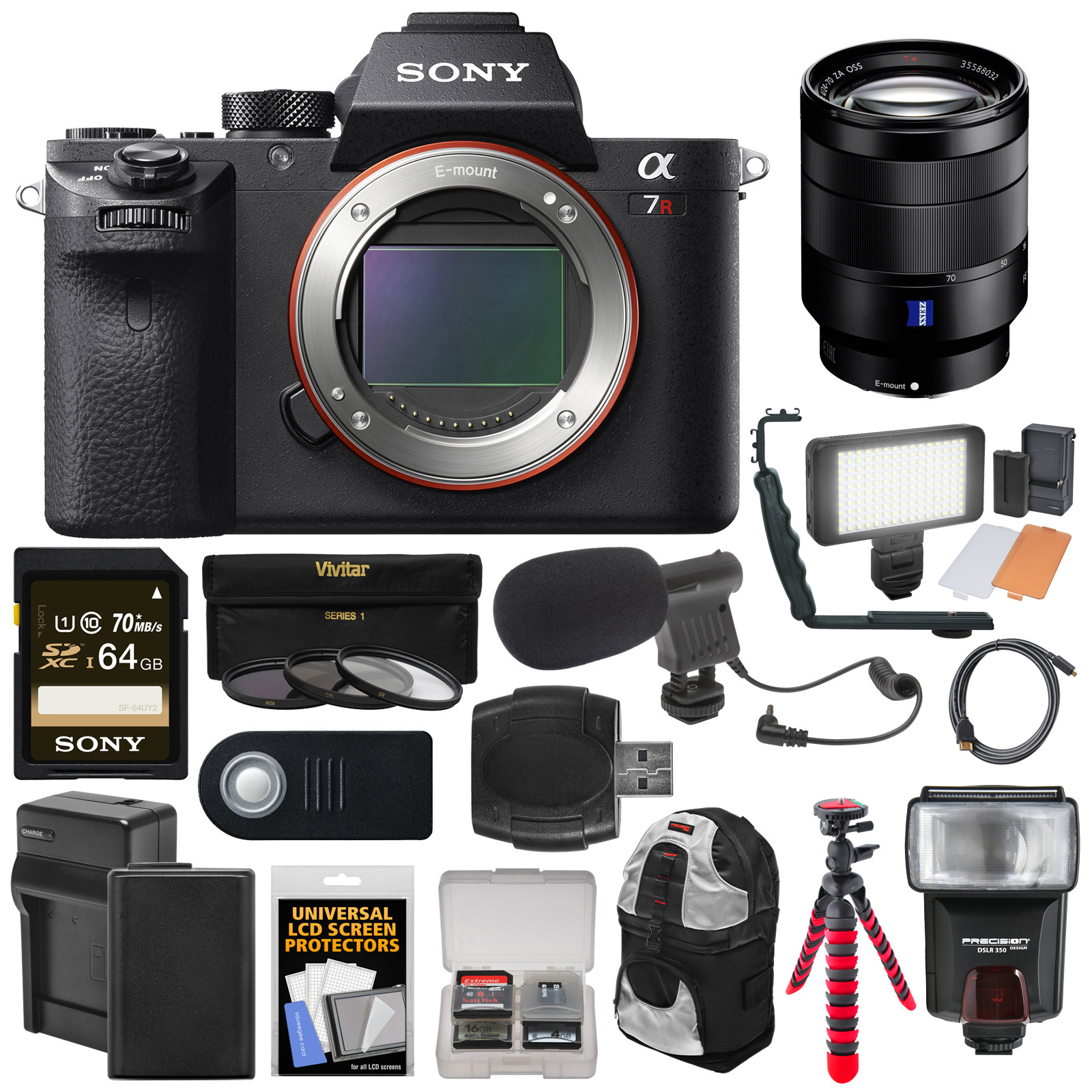 Sony Alpha A7R II 4K Wi-Fi Digital Camera Body with T* FE 24-70mm f 4.0 Lens + 64GB Card + Battery + Charger +... by Sony