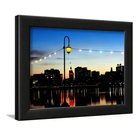 Lake Merritt with Lights at Sunset with City in Background, Oakland, California Framed Print Wall Art By John Elk III - Party City Elk Grove