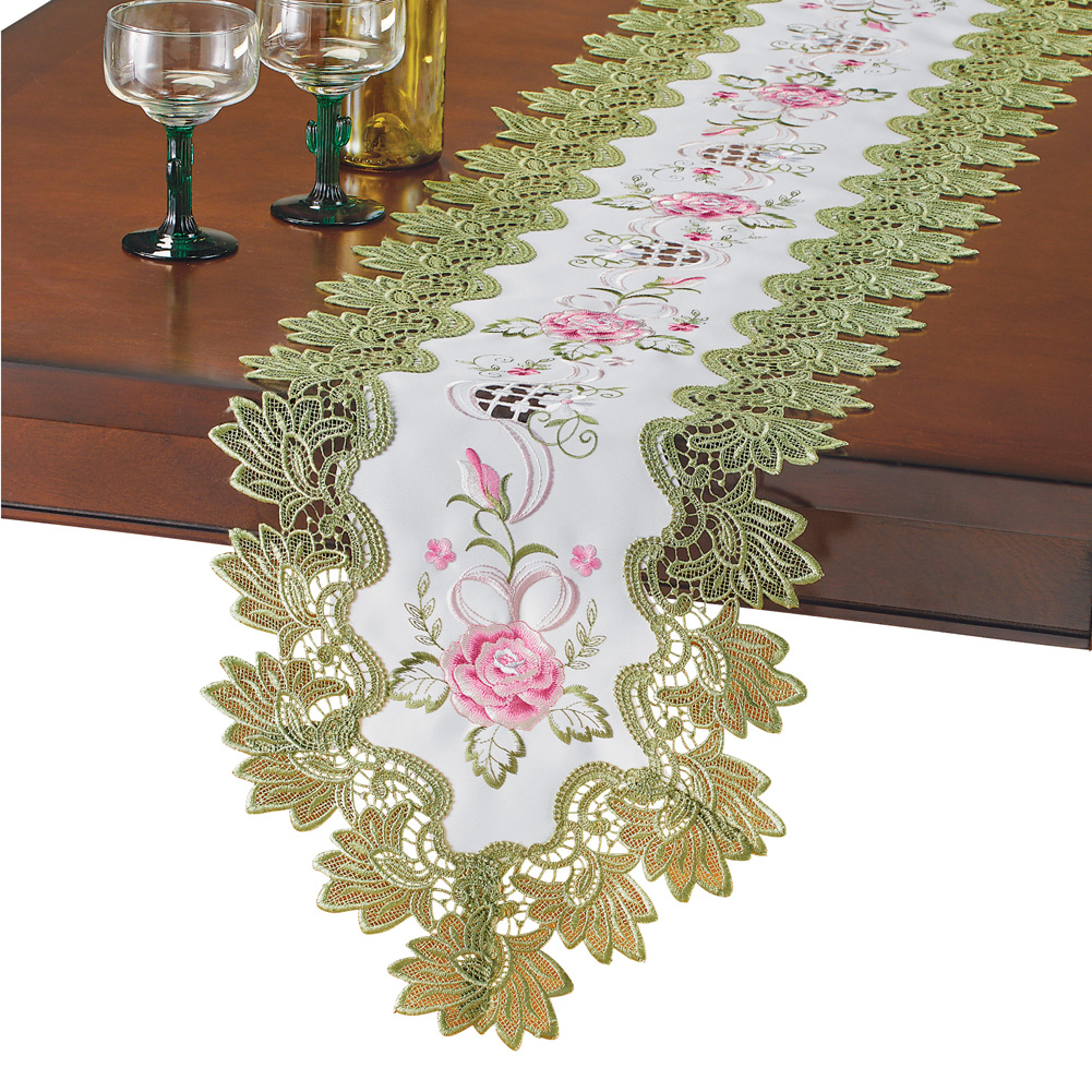 Beige Lace Floral Embroidery Table Runner Polyester Rectangle Transparent Dresser Scarf for Home Dining Room Tabletop Decoration 16 x 35 Inches