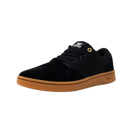 Supra Men's Chino Court Black / Gum Ankle-High Suede Skateboarding Shoe - (Air Force 1 Black Suede Gum Low)